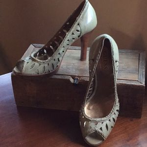Olive green cut out heeled shoe